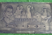bronze marker with photos
