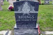 single grave upright Catholic Headstone in Bahama Blue