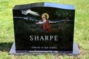 Christ in the Garden in color - upright headstonev erected in Burlington Massachusetts
