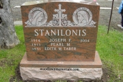 multi color red granite with sandblast Blessed Mother and Jesus design