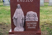 Sculpted Blessed Mother single lot headstone in Red granite
