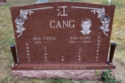 Chinese headstone carved in Deep red granite - Central Cemetery, Randolph, MA