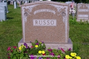double grave headstone with roses - Riverside Cemetery