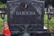 Polished bahama blue with beveled sides, roses and ceramic insert - St. Mary's Cemetery, Salem, MA