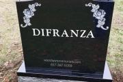 Black granite gravestone with a rose in each corner