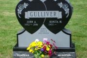 double heart upright headstone - Westlawn Cemetery, Westford, MA