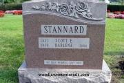double upright headstone - memory rose granite