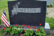 classic headstone design, carved roses, Impala black