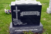 gem mist granite headstone with book