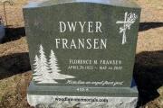 Green headstone in Malden, MA