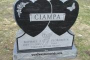 doiuble heart headstone in black granite