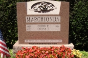 sculpted rose companion headstone - Laurention granite