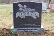 Impala black gravestone erected in Iron Rail Cemetery, Wenham, MA