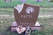 rose headstone design - red granite - Riverside Cemetery, Saugus