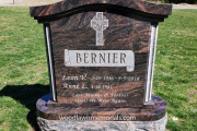 Aurora granite with columns and rounded base - Riverside Cemetery, North Reading, MA