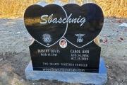 Double heart design in black granite - Tewksbury Cemetery, Tewksbury, MA
