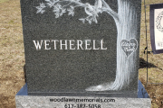 Custom etched tree double size headstone