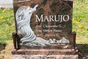 Etched Angel carved on Aurora Granite erected in Oak Grove Cemetery, Medford, Massachusetts