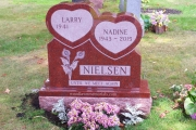 Red double heart design - Lakeside Cemetery
