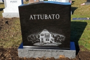 Custom hand etched house on black granite - Riverside Cemetery, Saugus, MA