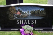 custom etched headstone in color