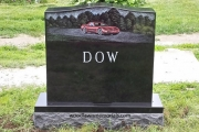 custom hand etched car on headstone in Riverside Cemetery