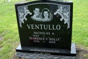 etched portrait on black granite - Riverside Cemetery, Saugus