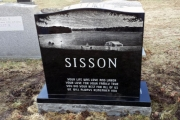 etched headstone - lake scene