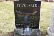 custom etched scene - Winthrop Cemetery, Bell ' Isle Scetion