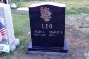 custom etched memorial in color - Wyoming Cemetery, Melrose, MA