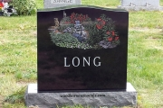 custom etched monument in color - Riverside Cemetery, Saugus, MA