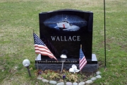 etched boat on headstone - Riverside Cemetery, Saugus, MA