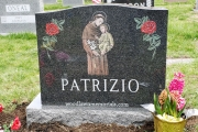 St. Anthony hand etched in color with  etched roses - Woodbrook Cemetery, Woburn, Ma