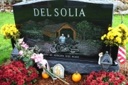 motorcycle and mountain scene - Fox Hill Cemetery, Billerica, MA