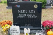 Patriots and Bruins headstone design