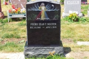 hand done etching on headstone - St. Joseph's Cemetery, Lynn, MA