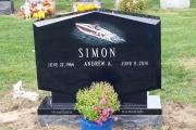 Custom etched headstone - Winthrop Cemetery