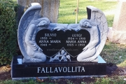 double angel sculpted headstone design