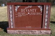 Red granite with roses - St. Joseph's Cemetery, West Roxbury