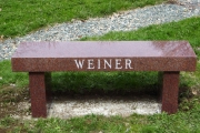 Red granite bench - Annunciation Cemetery, Danvers, MA