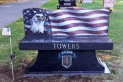 custom design granite bench - Wildwood Cemetery, Wilmington, MA