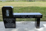 Memorial bench with etched portrait carved in black granite - Gibson Park, Revere, MA