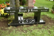 Granite bench with polished ice skates - Wood End Cemetery, Reading, MA Cemnetery - Reading MA