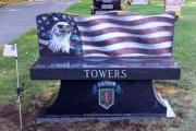 custom design granite bench - Wildwood Cemetery, Wilmington, MA