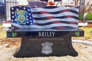Custom etched granite bench