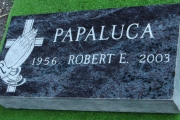 grave marker in Bahama Blue granite