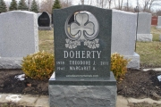 Shamrock design on single grave headstone