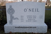 Irish headstone design on unpolished granite