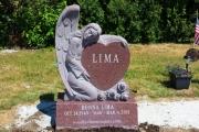 Angel and heart single upright headstone