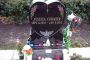 Heart shaped single gravestone with etched design in color